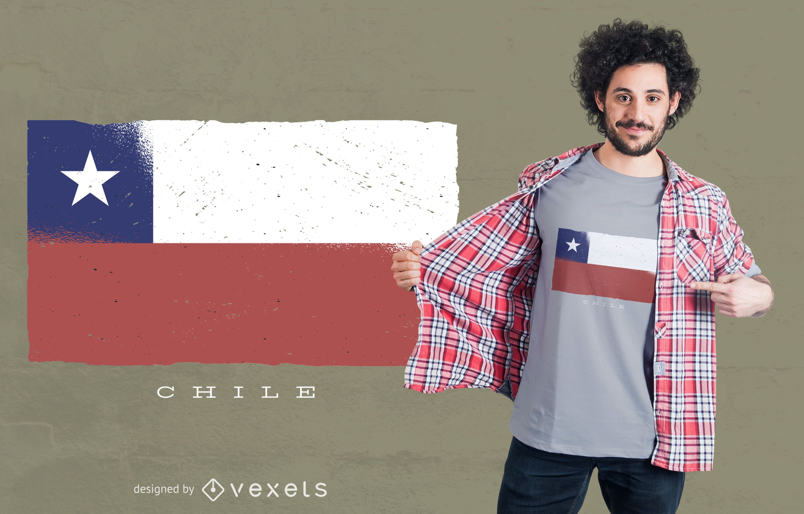 Chile Grunge Flag T-shirt Design