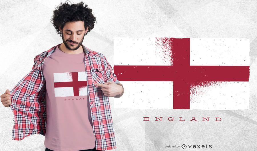 Diseño de camiseta de la bandera de Inglaterra Grunge