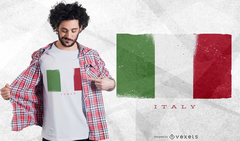 Diseño de camiseta de bandera de Italia Grunge