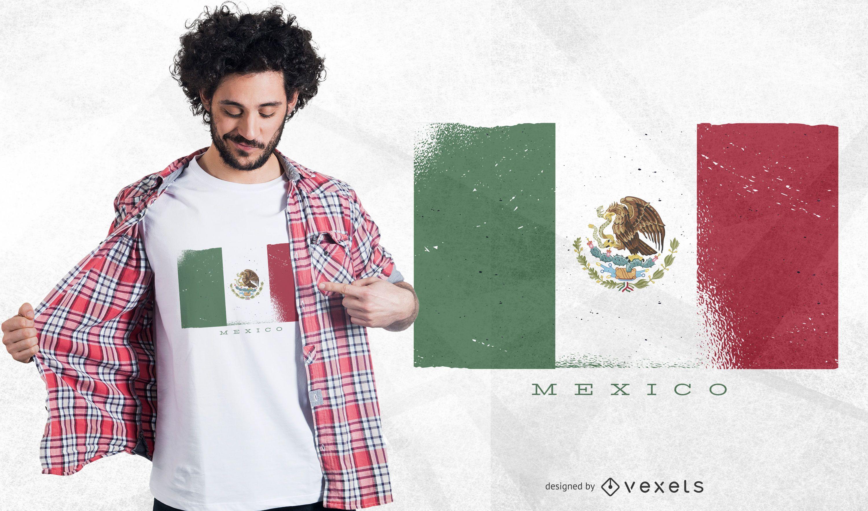 Diseño de camiseta de bandera de México Grunge