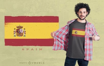 Spain Grunge Flag T-shirt Design