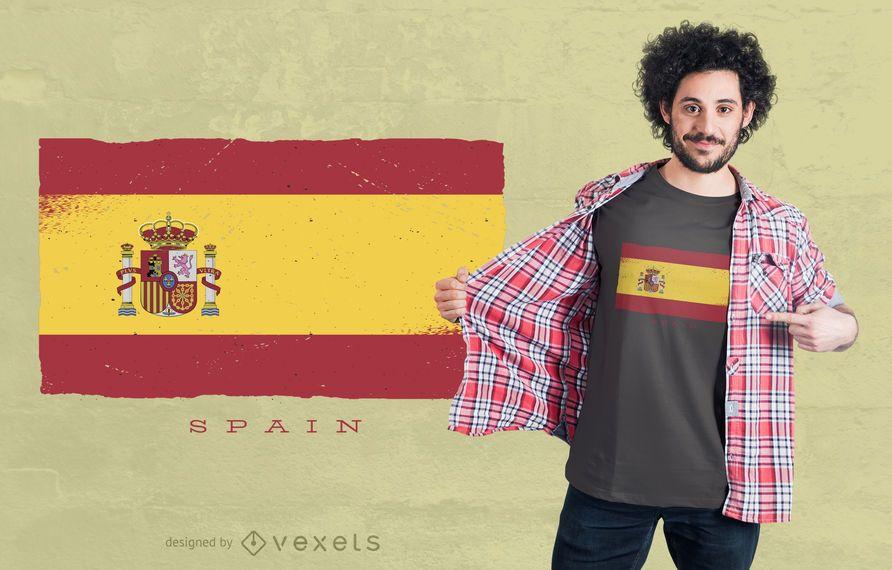 Design de t-shirt da bandeira do Grunge de Espanha