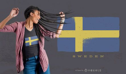 Diseño de camiseta de bandera de grunge de Suecia