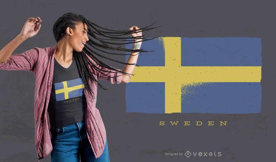 Design de t-shirt da bandeira do Grunge da Suécia