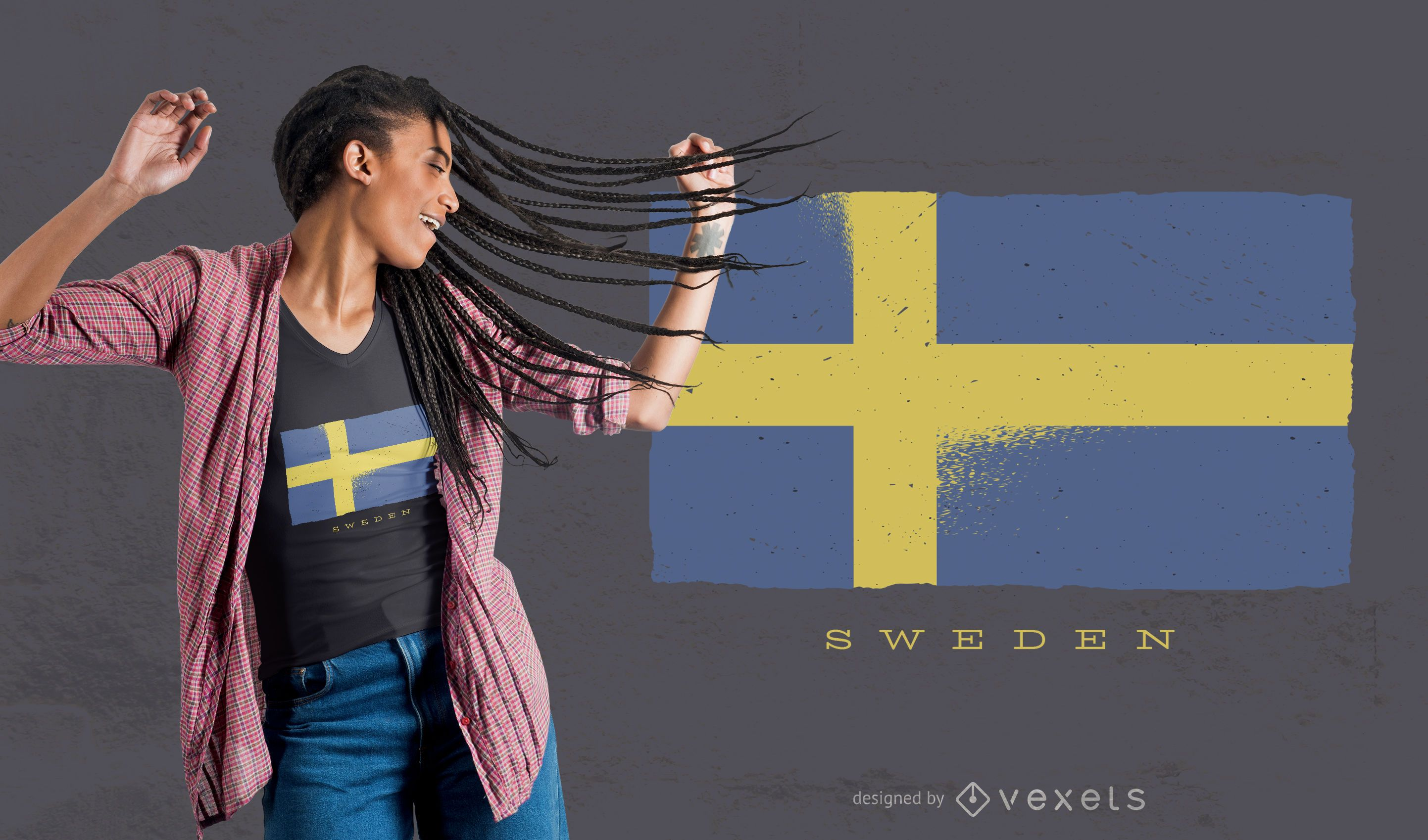 Sweden Grunge Flag T-shirt Design