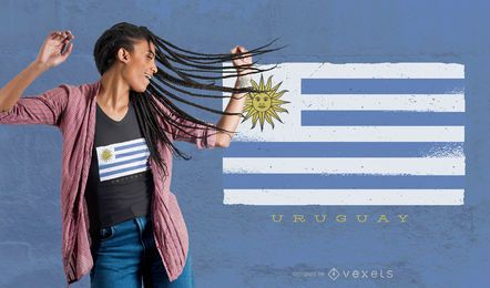 Design de camisetas da bandeira grunge do Uruguai
