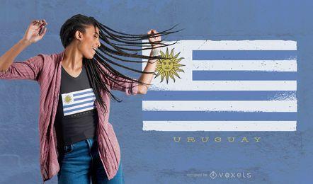Diseño de camiseta de bandera de grunge de Uruguay