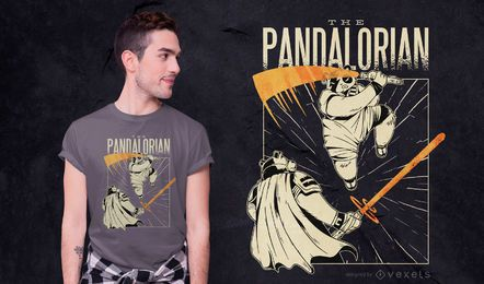 Diseño de camiseta Panda Swordsman Parody