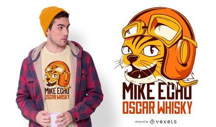 Diseño de camiseta divertido gato aviador