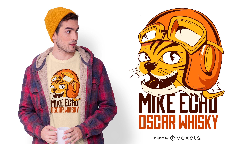Design engraçado de camiseta para gato aviador