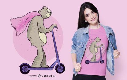 Design de t-shirt de preguiça de scooter