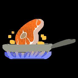 Carne frita com textura