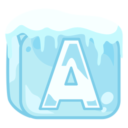 Ice cube letter a