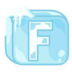 Ice cube letter f