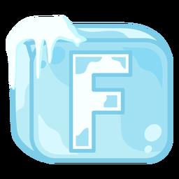 Letra f do cubo de gelo