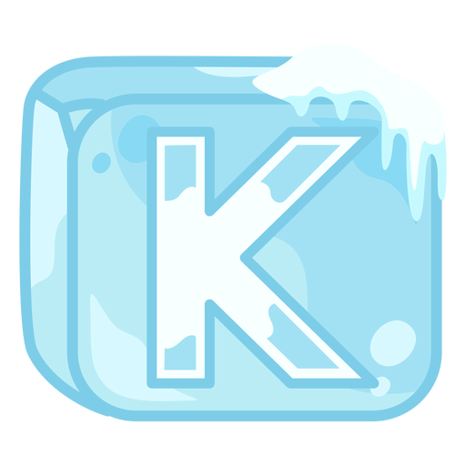Ice cube letter k