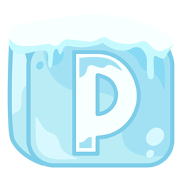 Ice cube letter p