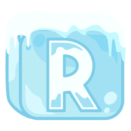 Ice cube letter r