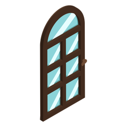 Arched shaped door isometric