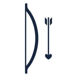 Icono azul de arco y flecha