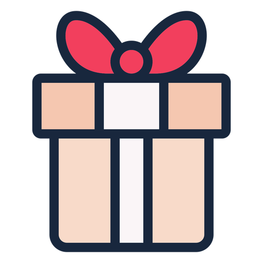 Cute present stroke icon Transparent PNG