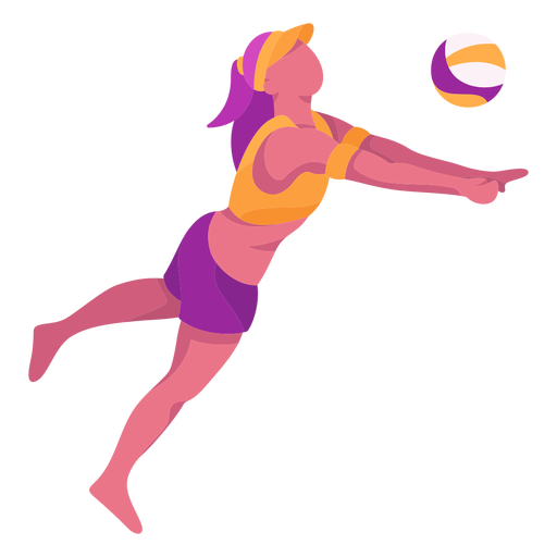 Flat volleyball player Transparent PNG