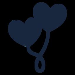 Icono de globos corazón azul