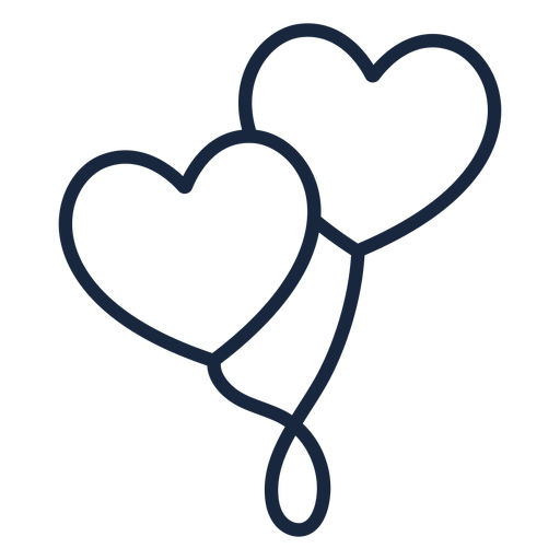 Heart balloons stroke Transparent PNG
