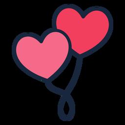 Icono de trazo de globos de corazón