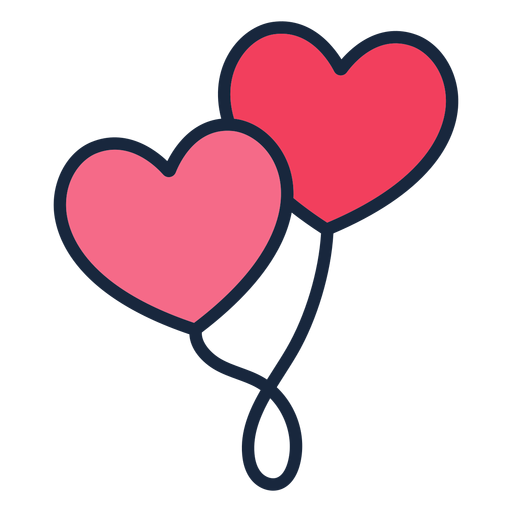 Heart balloons stroke icon Transparent PNG