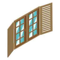 Isometric window with shutters