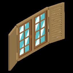 Ventana isométrica con persianas.