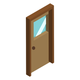 Isometric wooden door