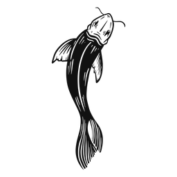 Peixe Koi preto e branco