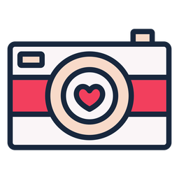 Ícone de traço de câmera de amor
