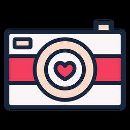 Icono de trazo de cámara de amor