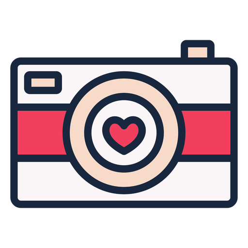 Icono de trazo de cámara de amor Transparent PNG