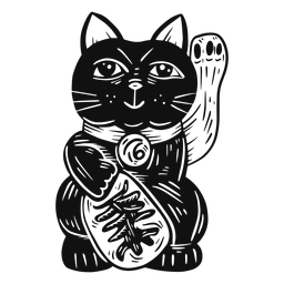 Maneki neko black and white