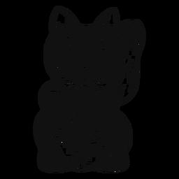 Maneki neko en blanco y negro