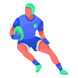 Jugador de rugby plano