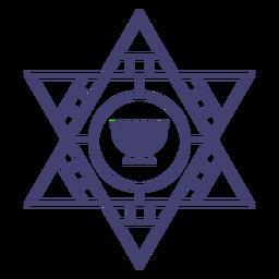 Star of david and menorah stroke