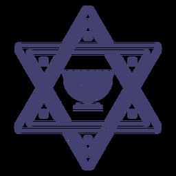Estrela de David com derrame de Menorah