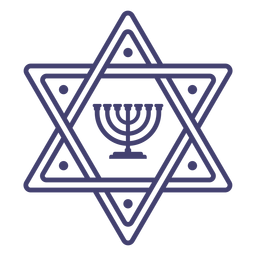 Star of david with menorah stroke