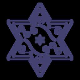 Estrella de david con trazo de remolinos