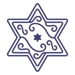 Star of david with swirls stroke