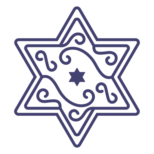 Star of david with swirls stroke Transparent PNG