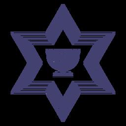 Stroke star of david with menorah