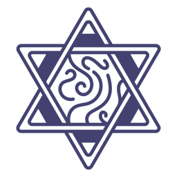 Stroke star of david with swirls