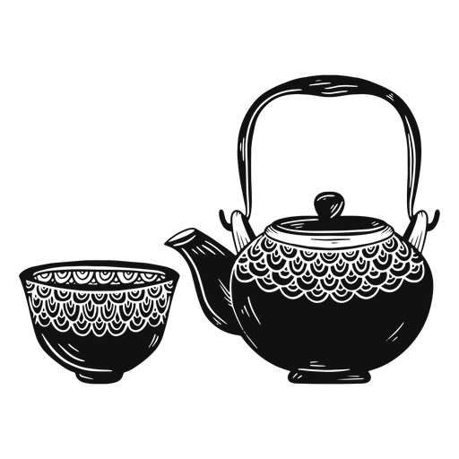 Teapot and cup black and white Transparent PNG