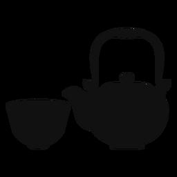 Silueta de tetera y taza